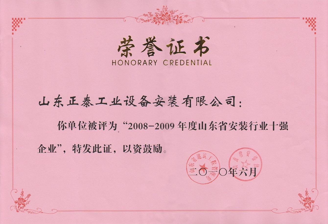 2008-2009年度省an装十强